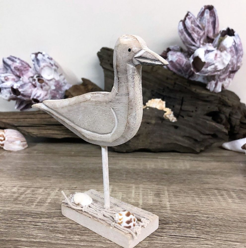 Natural Seagull on Post Shell Base Nautical  Ornament